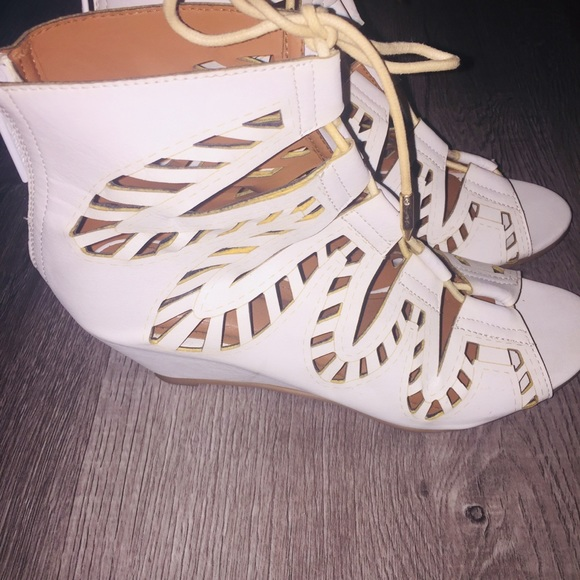 Shiekh Shoes - White Lace-Up Wedge Sandals